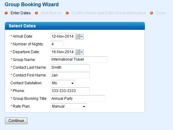 Group Booking Enter Dates