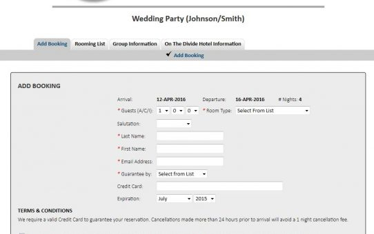 Group Booking Engine Add Booking