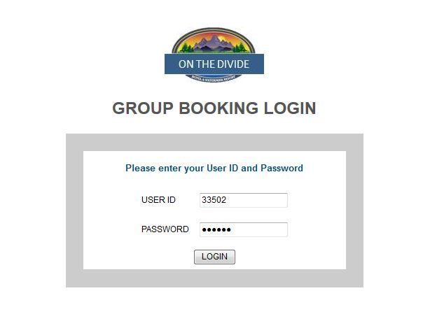 Group Booking Engine Log in example