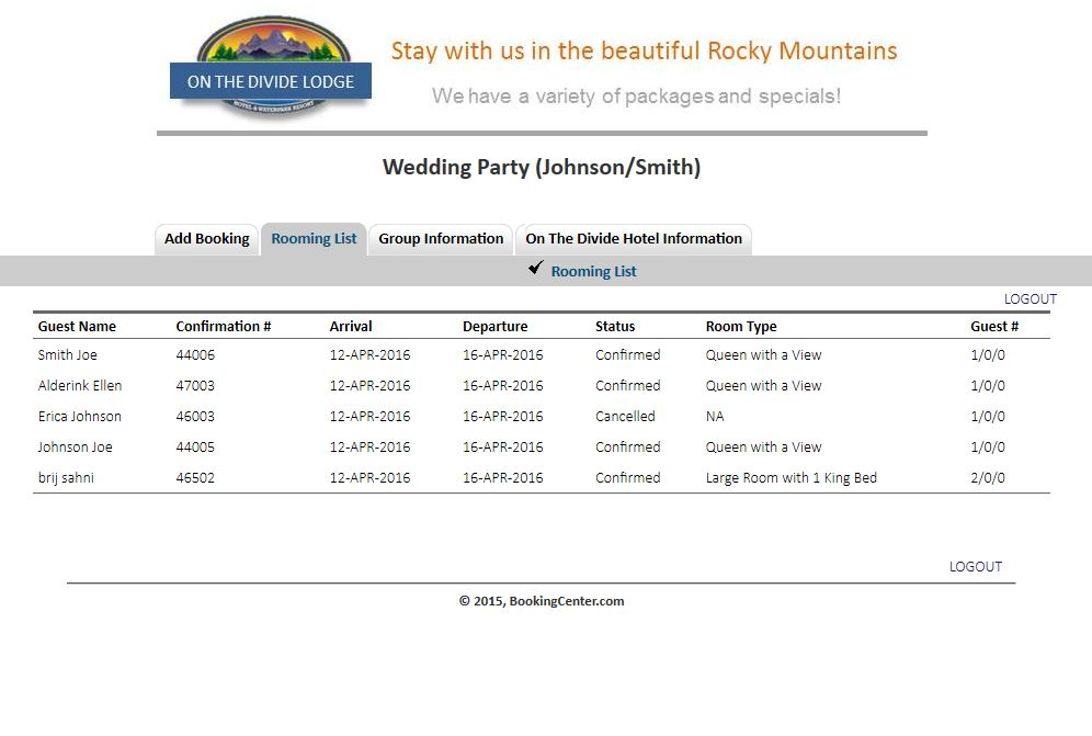 Group Booking Engine Rooming List