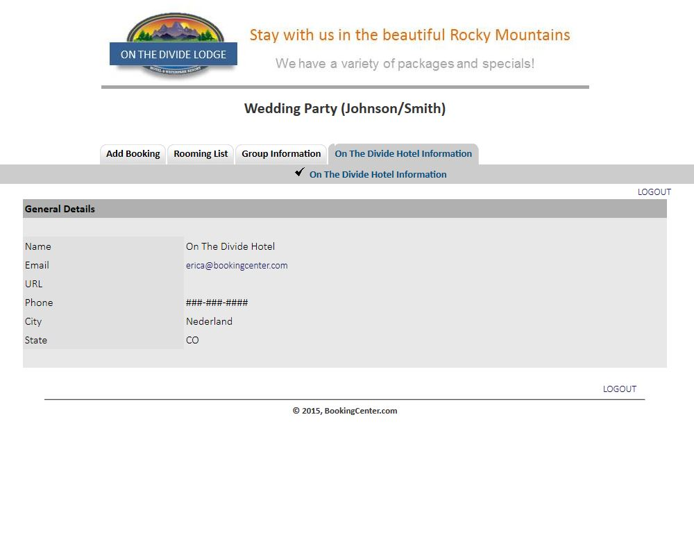 Group Booking Engine hotel information