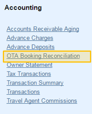 MyPMS Accounting Reports | OTA Reconciliation Report