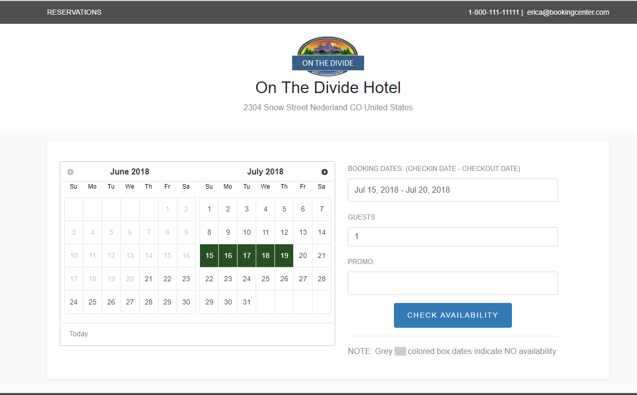 Booking Engine Availability Calendar Dates