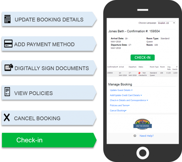 Self Check-in on a Mobile Phone lets guest update booking details, add payment methods and sign the registration before check-in. Automatically updated in your PMS.