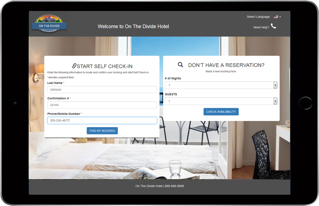 Kiosk Template Check-in and Make a Booking. Side-by-side.