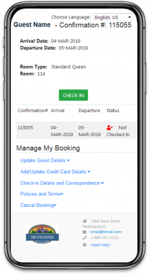 BookingCenter Self Check-in Mobile Phone